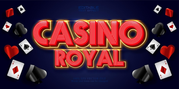 Tekst casino royal, edytowalny efekt tekstowy w stylu neonowym