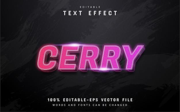 Tekst cerry, różowy gradient edytowalny efekt tekstowy