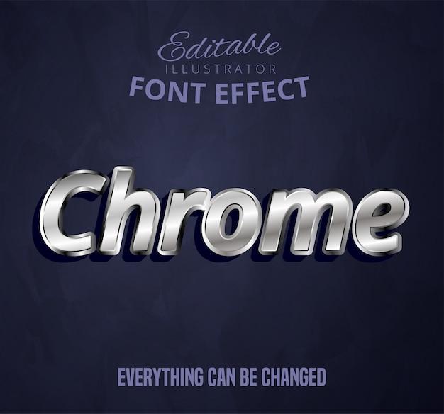 Tekst chrome, edytowalny efekt czcionki