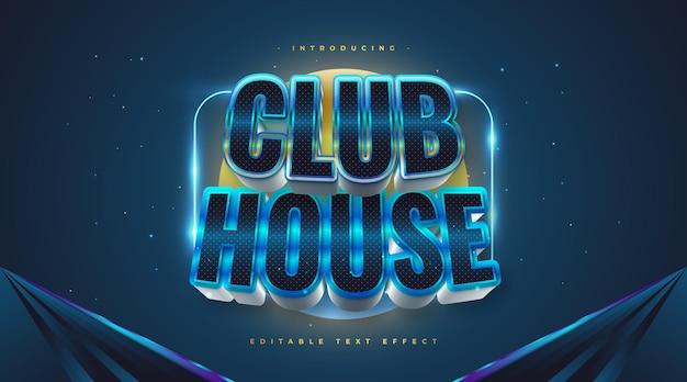 Tekst club house w stylu niebieskim i srebrnym z efektem 3d i brokatem. edytowalny efekt stylu tekstu