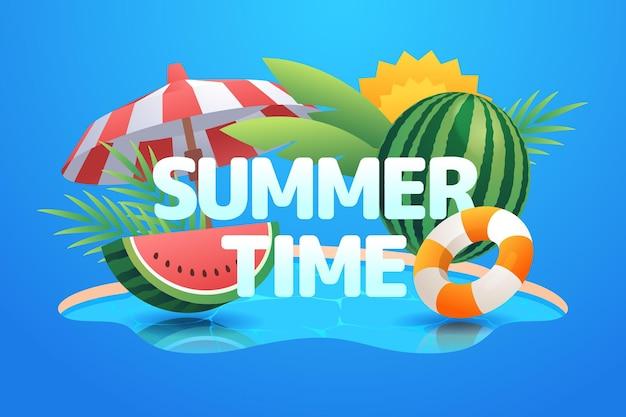 Tekst czasu letniego na ilustrowanej plaży