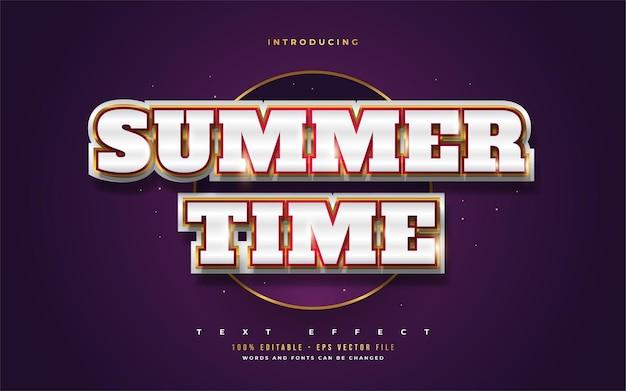 Tekst czasu letniego w kolorze białym i złotym z wytłoczonym efektem 3d. edytowalne efekty stylu tekstu