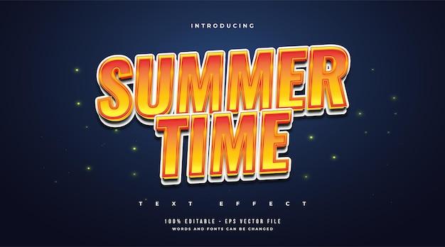 Tekst czasu letniego w stylu kreskówki w kolorze białym i pomarańczowym. edytowalny efekt tekstowy
