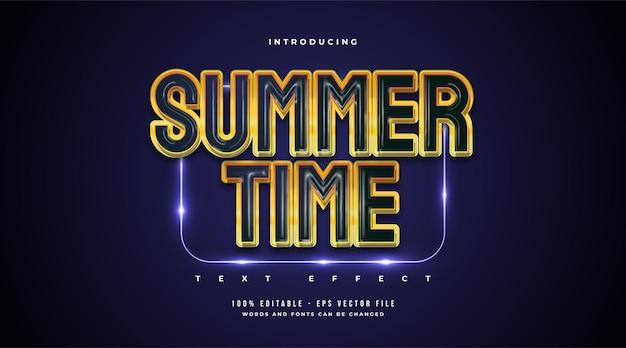 Tekst czasu letniego w stylu niebieskim i żółtym z efektem 3d. edytowalny efekt stylu tekstu
