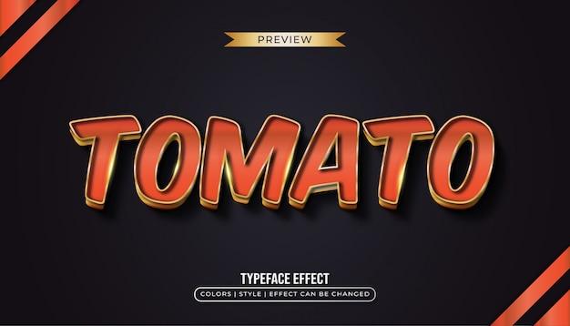 Tekst czerwonego pomidora z efektem złota