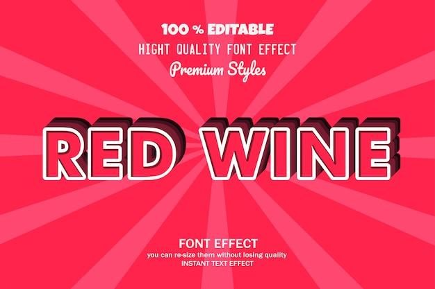 Tekst czerwonego wina, efekt czcionki