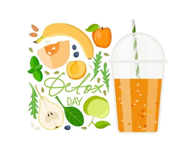 Tekst dnia detoksykacji z kubkiem smoothie i składnikami plastikowy kubek na wynos z pomarańczowym płynem