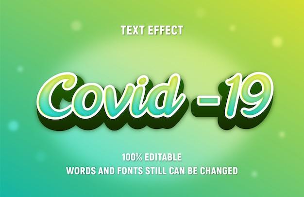 Tekst do edycji zielono-żółty kolor o covid ze stylem.