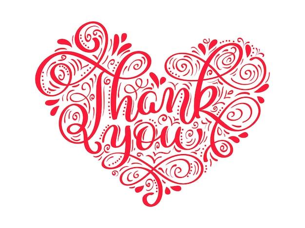 Tekst dziękuję kaligrafia napis w kształcie serca na dzień dziękczynienia.