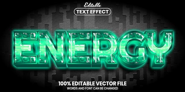 Tekst energetyczny, edytowalny efekt tekstowy w stylu czcionki