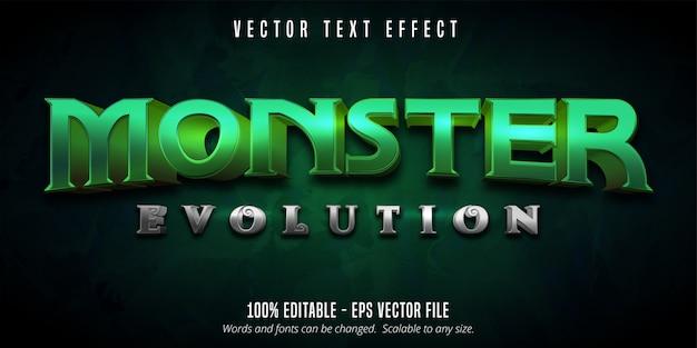 Tekst ewolucji potworów, edytowalny efekt tekstowy w stylu gry