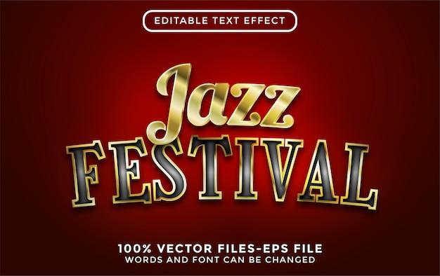 Tekst festiwalu jazzowego. edytowalny efekt tekstowy ze złotymi wektorami premium