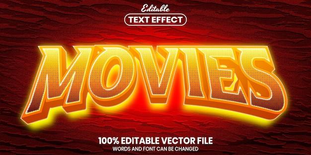 Tekst filmów, edytowalny efekt tekstu w stylu czcionki