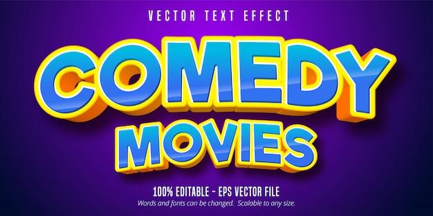 Tekst filmu komediowego, edytowalny efekt tekstowy w stylu kreskówki