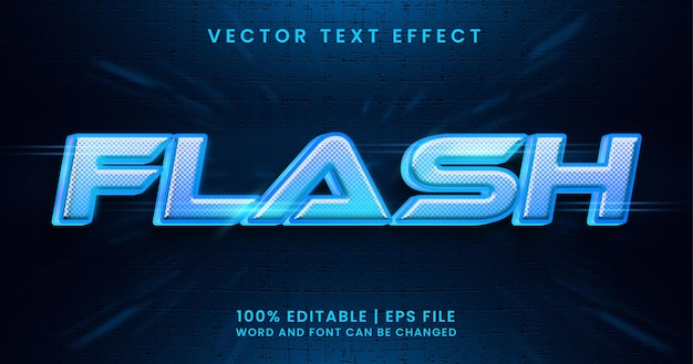 Tekst flash, świecący jasnoniebieski edytowalny efekt tekstowy
