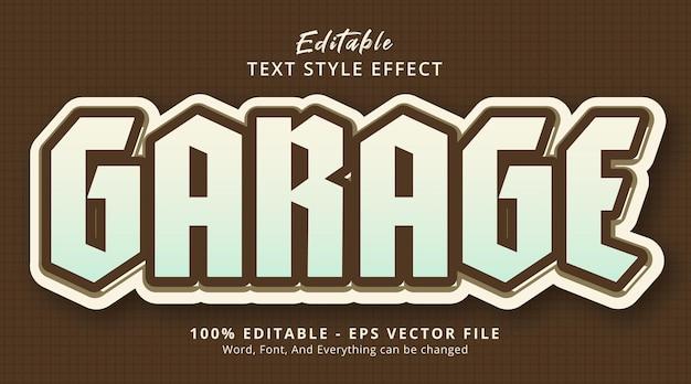 Tekst garażu na efekt stylu retro, edytowalny efekt tekstowy