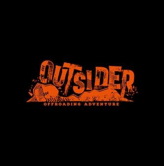 Tekst grunge outsider offroad