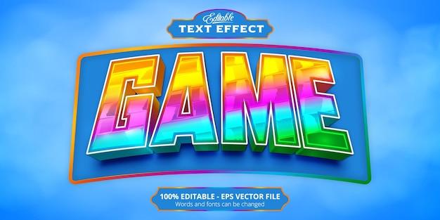 Tekst gry, edytowalny efekt tekstowy w kolorowym stylu