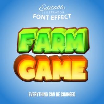 Tekst gry farm, edytowalny efekt czcionki