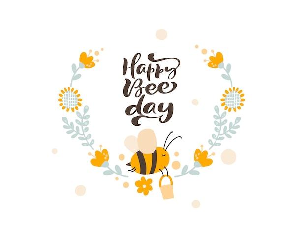 Tekst happy bee day charakter słodkiego miodu pszczelego z wieńcem kwiatów w skandynawskim stylu wektorowym