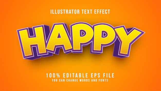 Tekst happy edytowalny