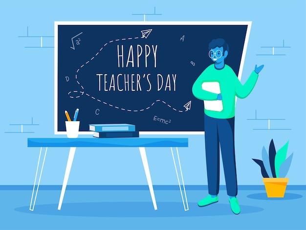 Tekst happy teacher's day na tablicy z rysunkowym nauczycielem trzymającym książkę w klasie.