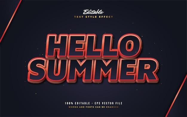Tekst hello summer w stylu pogrubionym czarno-czerwonym z wytłoczonym efektem