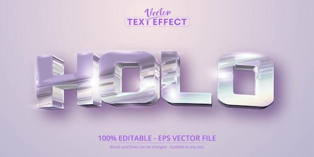 Tekst holo, holograficzny, opalizujący kolor, pomarszczony efekt edytowalny w stylu folii
