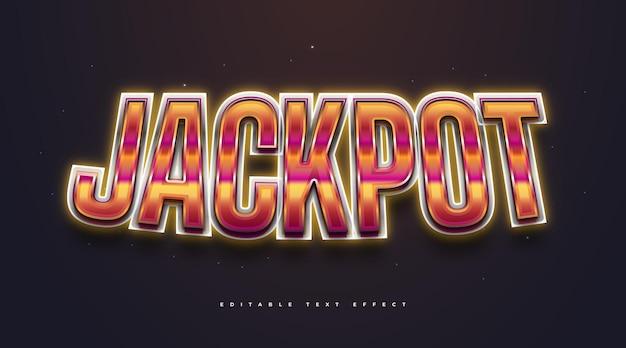 Tekst jackpot z kolorowym stylu retro i świecącym efektem neonu. edytowalny efekt stylu tekstu