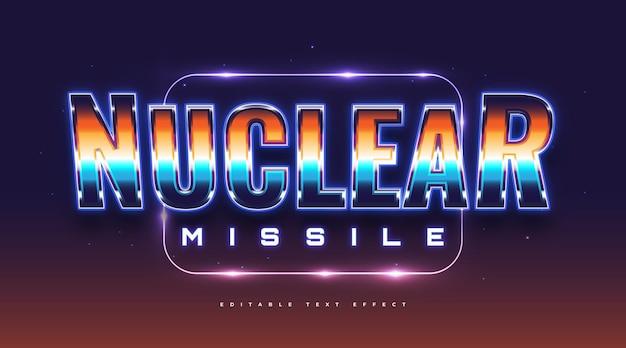 Tekst jądrowy w kolorowym stylu retro i neon effect. edytowalny efekt stylu tekstu