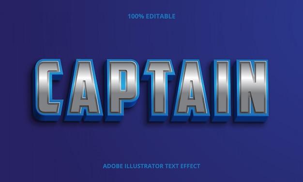 Tekst kapitana, błyszczący efekt edytowalnej czcionki