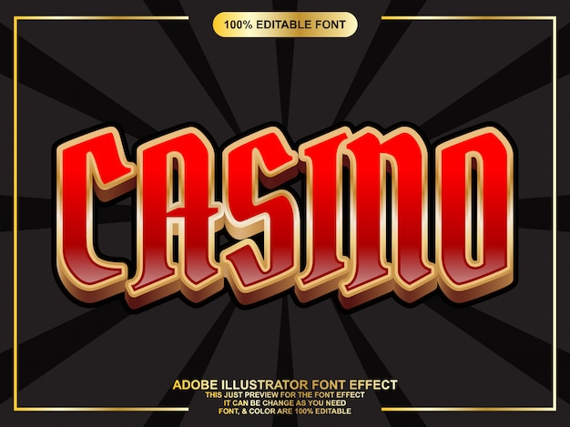 Tekst kasyna ze złotym konturem efekt edytowalnej czcionki typografii