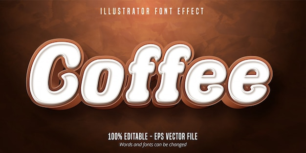 Tekst kawy, edytowalny efekt czcionki