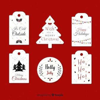 Tekst kolekcja etykiet świątecznych
