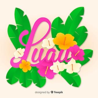 Tekst kwiatowy luau tło
