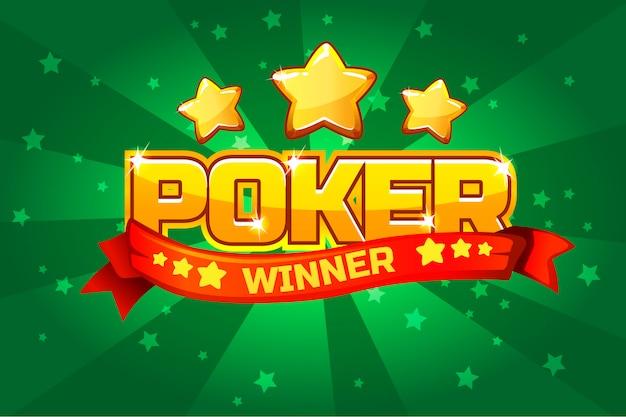 Tekst logo poker i złota gwiazda