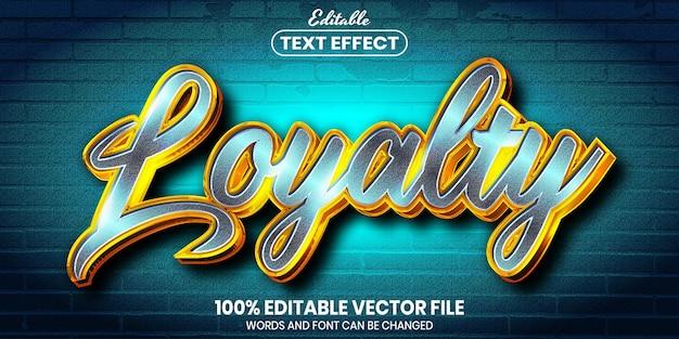 Tekst lojalnościowy, edytowalny efekt tekstu w stylu czcionki font