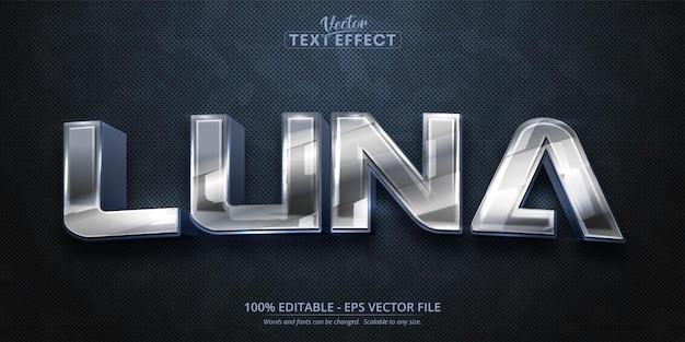 Tekst luna, efekt edytowalnego tekstu w stylu błyszczącego srebra