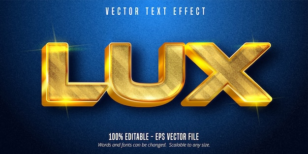 Tekst lux, błyszczący, edytowalny efekt tekstowy w złotym stylu