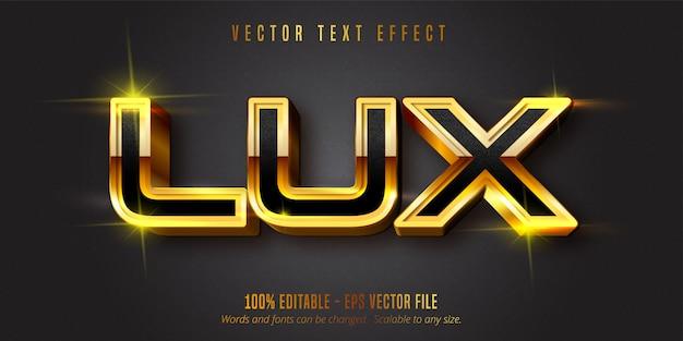 Tekst lux, efekt edycji tekstu w błyszczącym złotym stylu