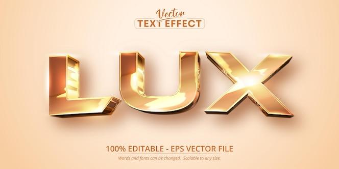 Tekst lux, efekt edytowalnego tekstu w błyszczącym złotym kolorze