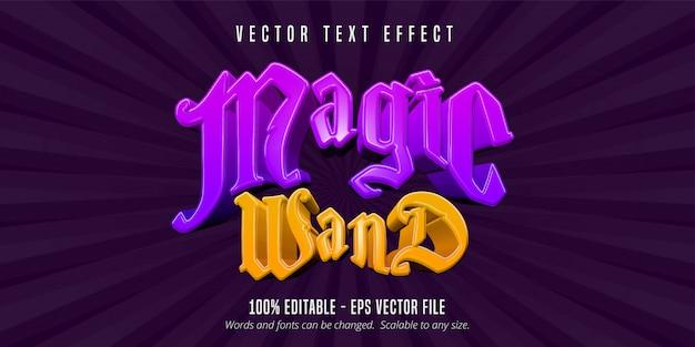 Tekst magicznej różdżki, edytowalny efekt tekstowy w stylu gry