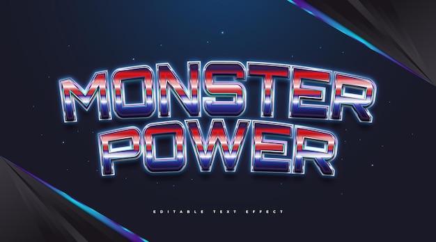 Tekst monster power w kolorowym stylu retro ze świecącym efektem. edytowalny efekt stylu tekstu