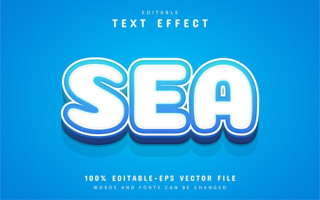 Tekst morski, efekt tekstowy w stylu kreskówki
