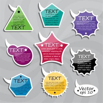 Tekst mowy pęcherzyków w różnych kolorach