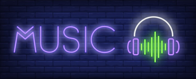 Tekst muzyczny neon ze słuchawkami i falą dźwiękową