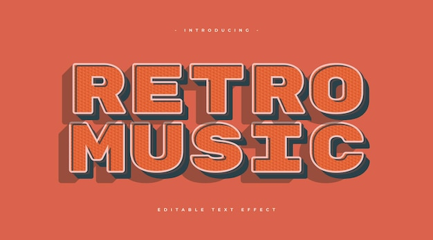 Tekst muzyki retro w stylu lat 70. i 80. z efektem tekstury. edytowalny efekt stylu tekstu