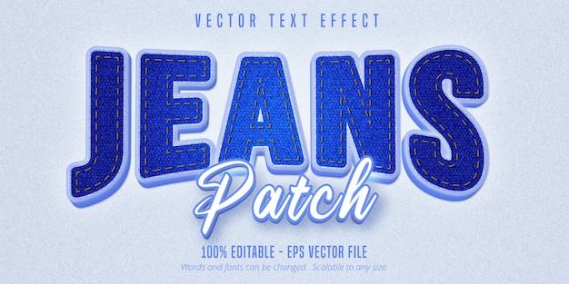Tekst naszywki dżinsów, realistyczny edytowalny efekt tekstowy w stylu denim