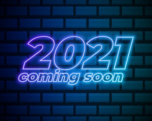 Tekst neonowy 2021. szablon projektu nowy rok 2021. jasny sztandar.