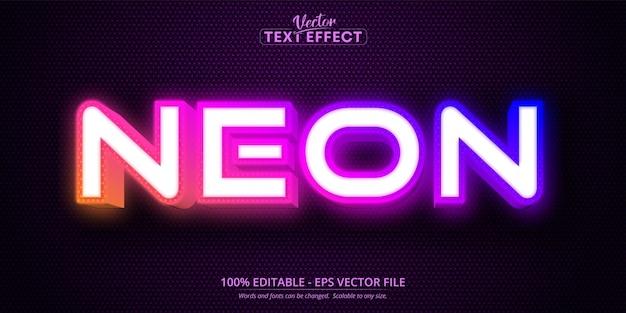 Tekst neonowy, edytowalny efekt tekstowy w stylu neonowym